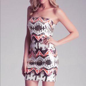 Bebe Strapless Sequin Dress